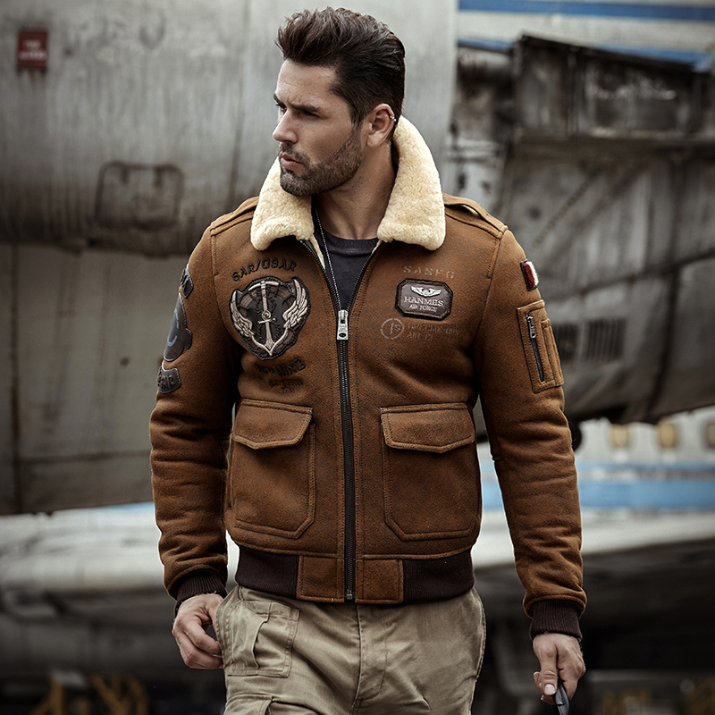 Shearling Sheepskin Genuine Leather Coat male B3 Bomber Jacket Retro Aviator Outerwear Trench Flight Men Thick Winter Jacket