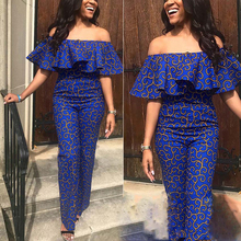 African Clothes Women Blue Color Ruffles Strapless Off Shoulder Women Jumpsuit Summer Womens Party Backless Female Jumpsuit Sexy