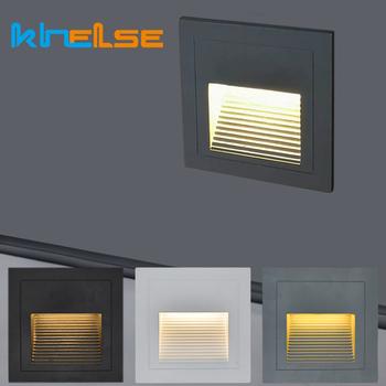 Zewnętrzne oświetlenie schodek LED wodoodporne IP65 3W ścienne wpuszczane podziemne lampy pejzaż z ogrodem zewnętrzne oświetlenie stóp tanie i dobre opinie khelse CN (pochodzenie) Żarówki led 1 year Klin 110-240 v Waterproof square led foot lighting Outdoor LED Recessed Wall lighting