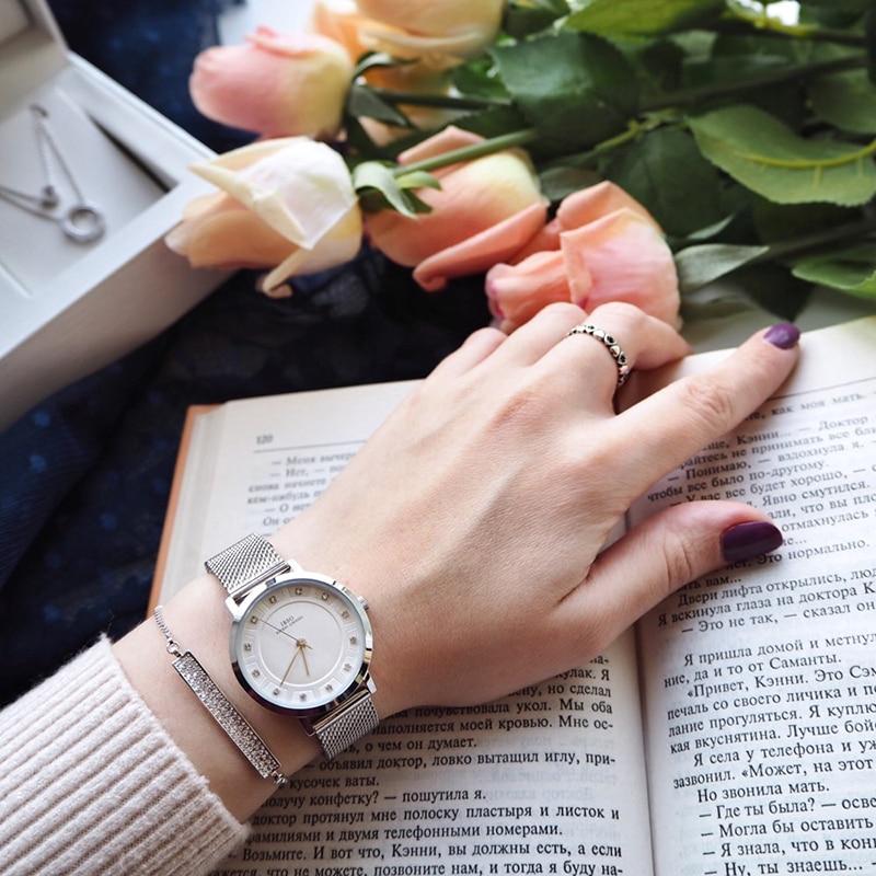 IBSO Women Quartz Watch Set Crystal Design Bracelet Necklace Watch Sets Female Jewelry Set Fashion Silver Set Watch Lady's Gift 5