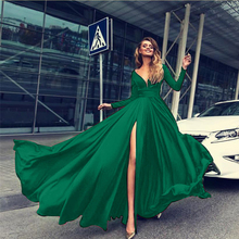 цены Summer A-Line V Neck Long Sleeves Green Long Formal Dress Loose High Split Red Maxi Party Dress Elegant Fall Casual Office Dress