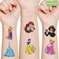 Лидер продаж, Мультяшные наклейки-татуировки в стиле диснеевских принцесс, 1 шт., экшн-персонаж, игрушка, украшение для кожи, подарок для дете...