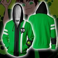 Ben 10 Alien Force Benjamin Tennyson Ben Cosplay Costumes Zipper Hoodies Sweatshirts 3D Printing Unisex Adult Clothing