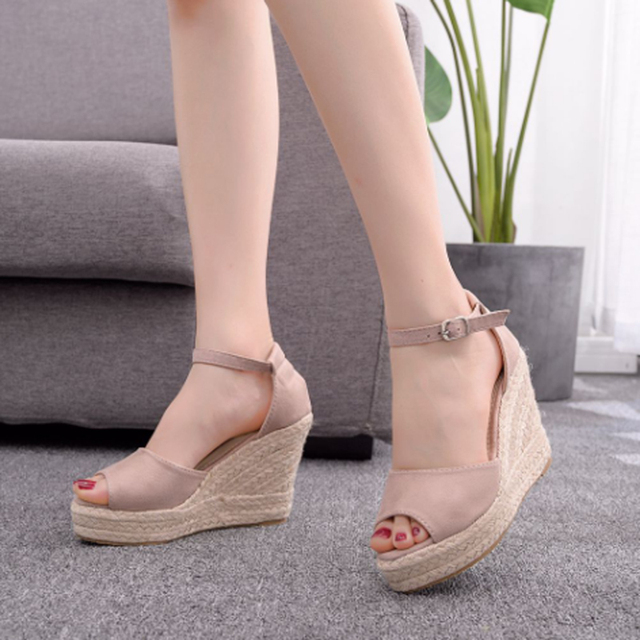 Women's hot style wedge sandals comfortable fish mouth sandals hemp rope high heel fish mouth sandals high heels for women 10cm 1