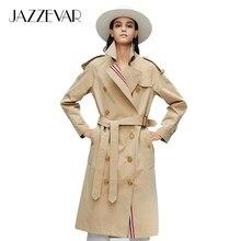 clothes9010-1 JAZZEVAR2019 新到着秋トップ紫色のトレンチコート女性防水綿ダブルブレスト女性