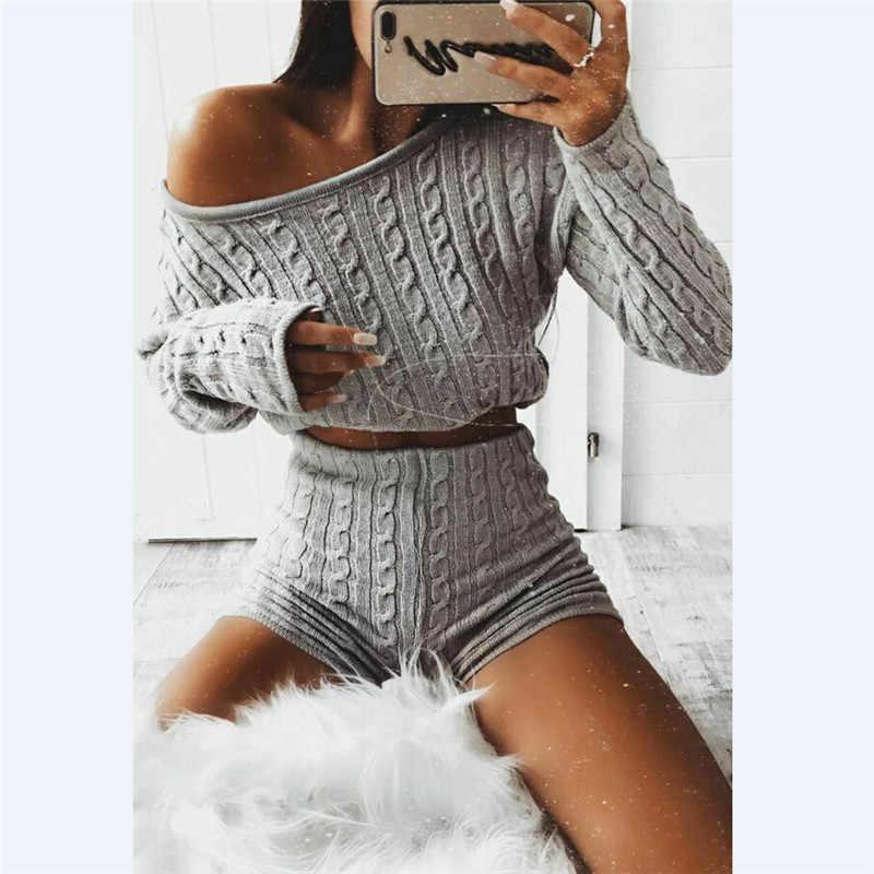 Yeni kadın kablo örgü kırpma üst salon giyim takım elbise bayanlar Co ord 2 adet eşofman takımı salonu aşınma katı mahsul gömlekler şort pantolon