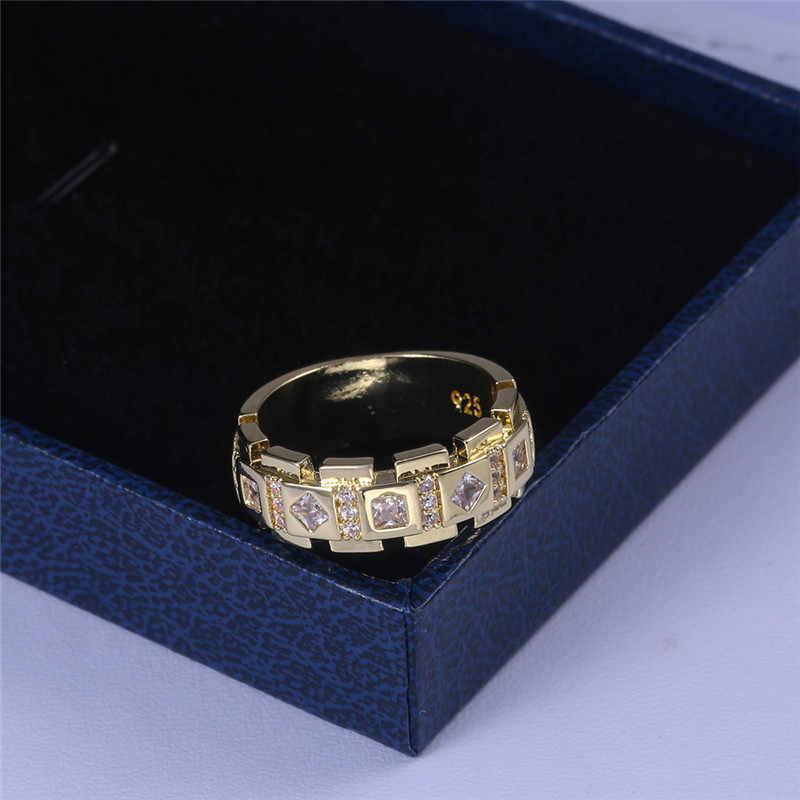 2019 แฟชั่น 925 เงิน AAA Zircon แหวนชายหญิงทองแต่งงานเครื่องประดับสำหรับแหวนผู้ชายและผู้หญิง
