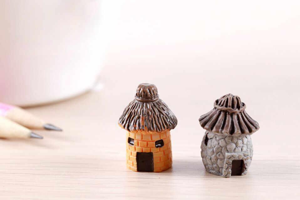 Baru Mini Bulat Kartun Ekspresi Rumah Resin Dekorasi untuk Rumah dan Taman DIY Mini Kerajinan Cottage Lanskap Dekorasi