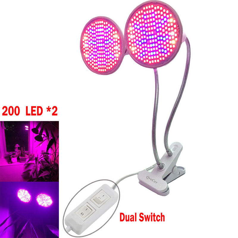 Dual Head Switch Grow 200 LED Plant Light Full Spectrum Bulb Lamps Flexible Desk Holder Clip For Indoor Flower Seed Growing