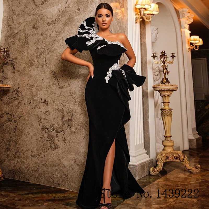 Black Velvet Mermaid Evening Dress Sexy One Shoulder Appliques High Slit Formal Celebrity Dresses Robe De Soiree Evening Dress