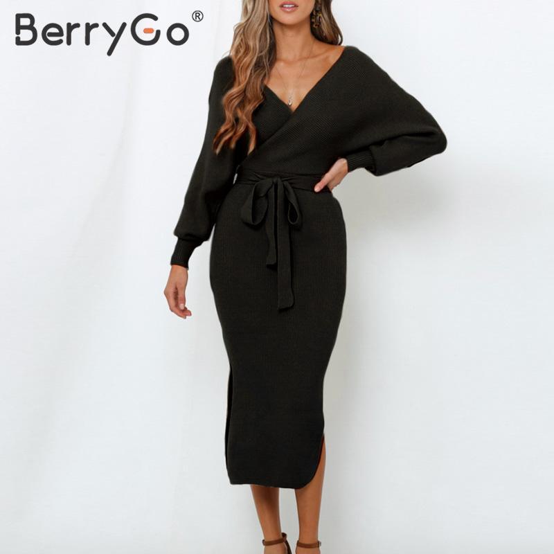 BerryGo Sexy v-neck knitted dress women Elegant belt office ladies chic short party dress High waist solid sheath autumn dress