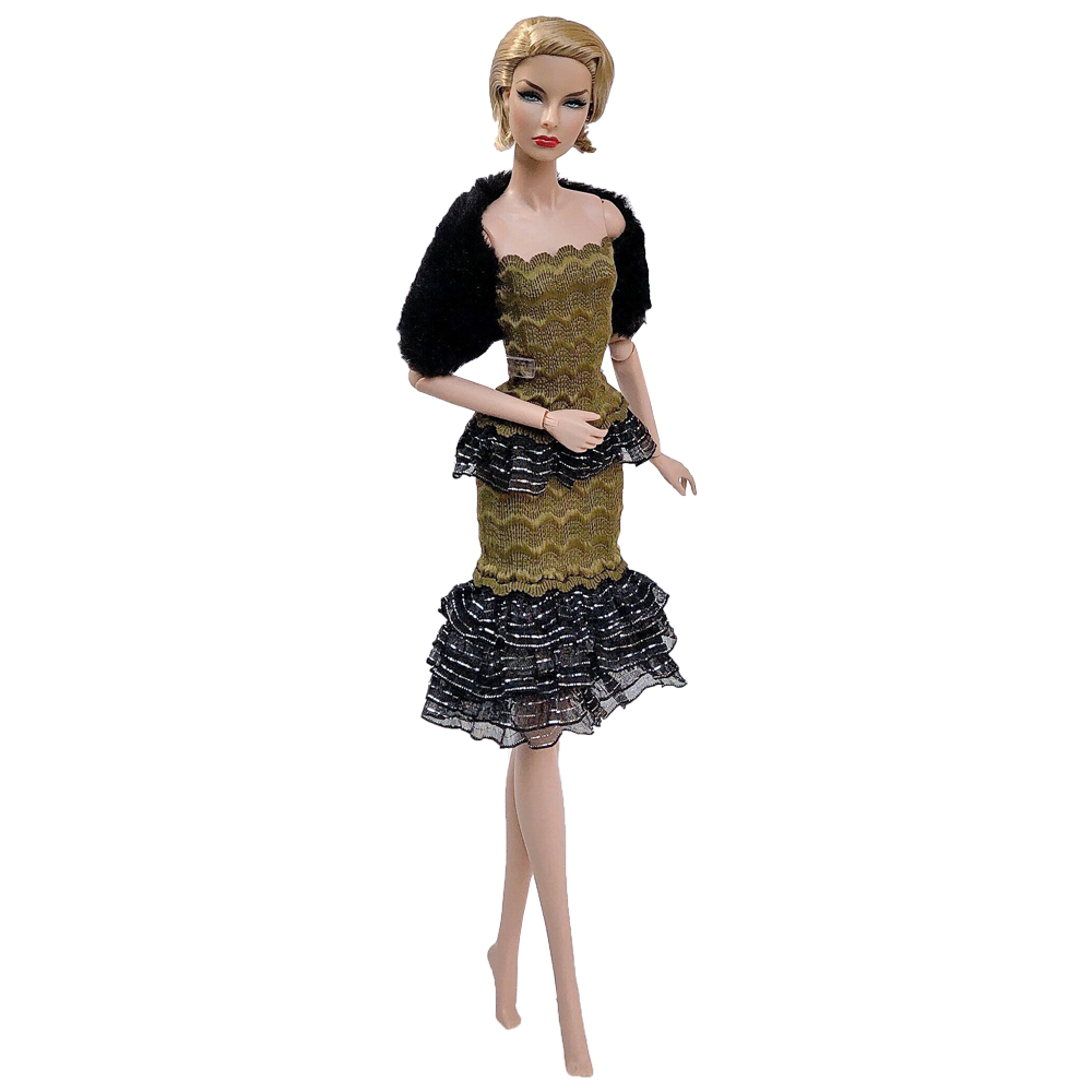 NK Newest Doll Dress Lace Clothes Super Model Party Outfit Fashion Split Dress For Barbie Doll Accessories Baby Toys 273B 8X