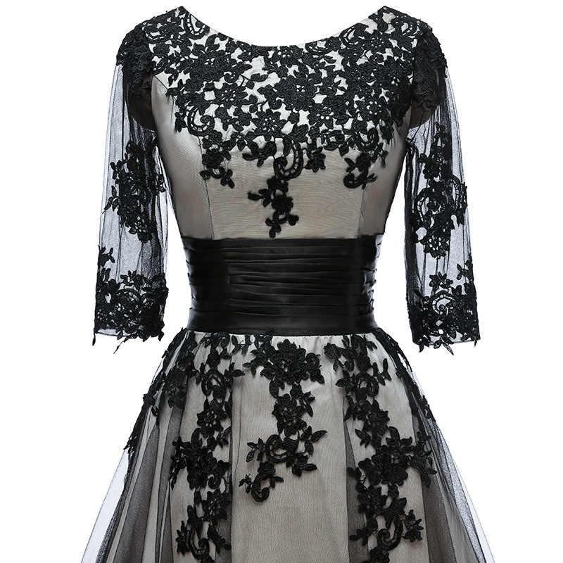 مقاس كبير فستان عروس رسمي أكمام 3/4 مزين بخط مع جاكيت طول الركبة عاري الكتفين