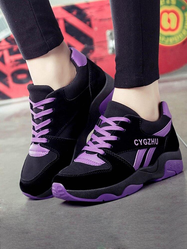 Женская розовая фиолетовая полосатая Вулканизированная обувь; Кроссовки; Повседневная Женская прогулочная обувь на платформе со шнуровкой; Спортивная обувь; Новинка 2020 года|Кроссовки и кеды| | АлиЭкспресс