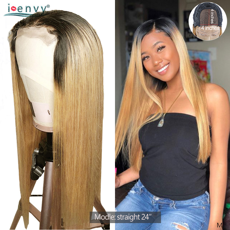 T1B 27 Ombre Honey Blonde Lace Closure Wigs Human Hair Brazilian Long Straight 4X4 Human Hair Lace Wigs For Black Women Non-remy