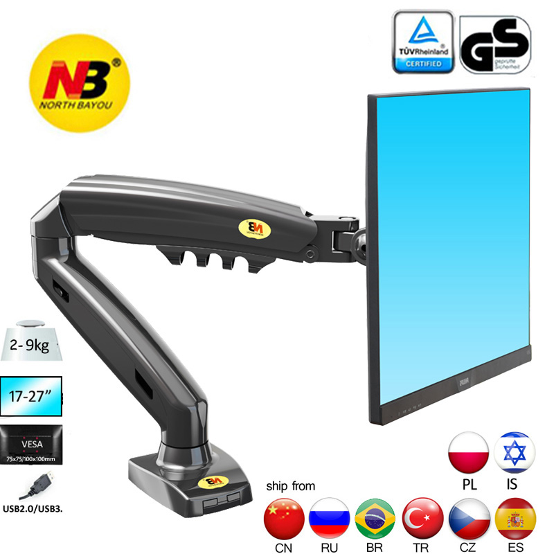 "NB NEW F80 10 27"" 2 9kg dual arm air press gas spring vesa 100x100 monitor desk mount stand clamp grommet base PC desk holdertv table mountlcd tv tablemount tv stand - AliExpress"