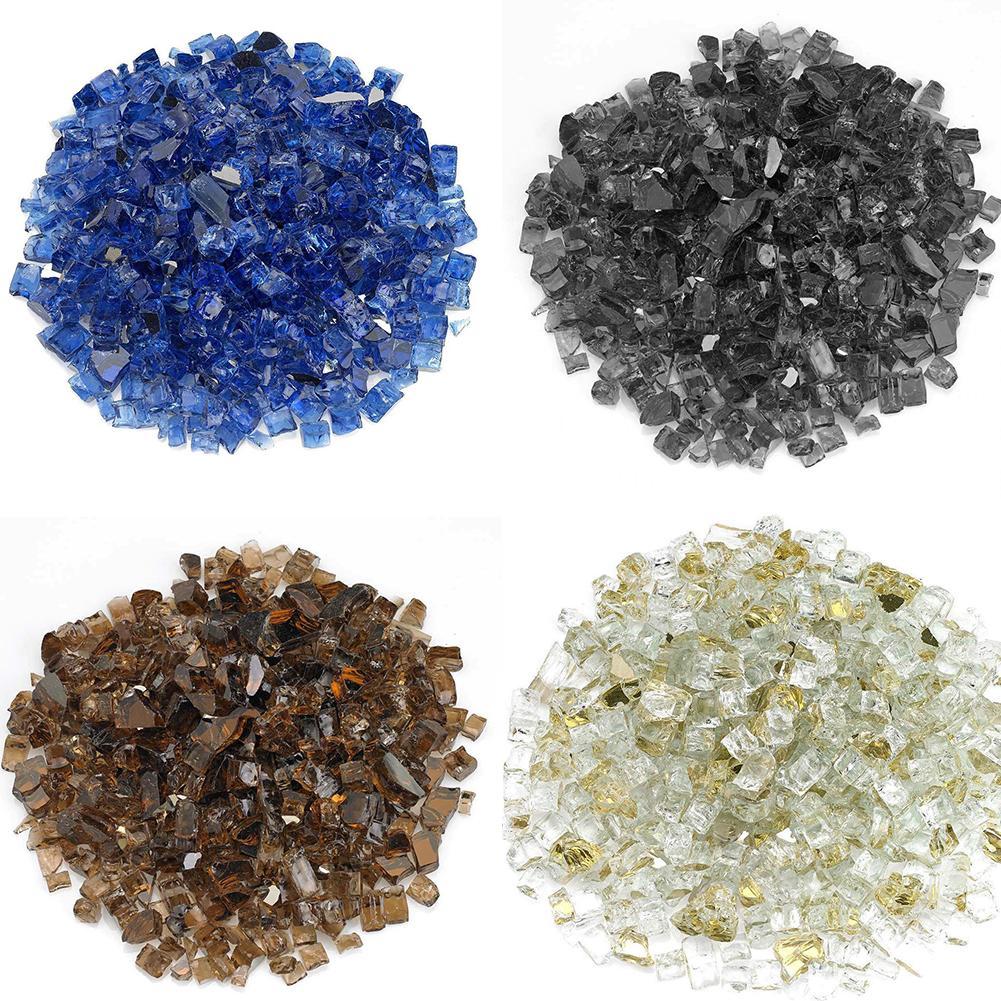 4 farben Spiegel Beschichtet Gehärtetem Glas Granulat Ofen Feuerstelle Glas Felsen DIY Spiegel Beschichtung Zubehör 1/4 ''zu 1/2''