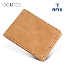 JOGUJOS Crazy Horse Leather Men Credit Card Holder Wallet Genuine Leather Men's Wallet Business Man Card Id Holders Coin Purse klsyanyo crazy horse genuine leather men women business card holder id credit cardholder with coin pocket wallet organizer purse