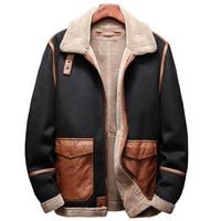 Winter Mens Fur Leather Jacket Coats European Style Plus Size 5XL Mens Faux Fur Coats Automotive Overcoats Mens Coat A173