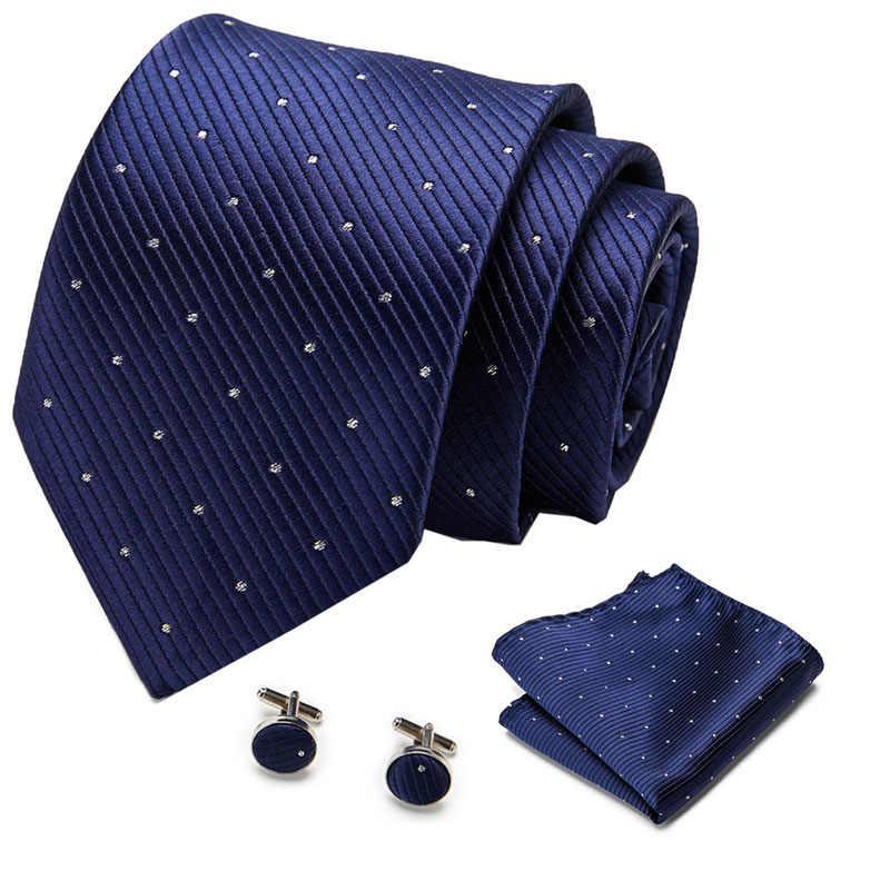 ยี่ห้อใหม่หรูหราสีเขียวชุด 7.5 ซม.ลายสก๊อตสีฟ้าเนคไท Gravata พ็อกเก็ตสแควร์ผ้าเช็ดหน้า Cufflinks ชุดสำหรับงานแต่งงาน