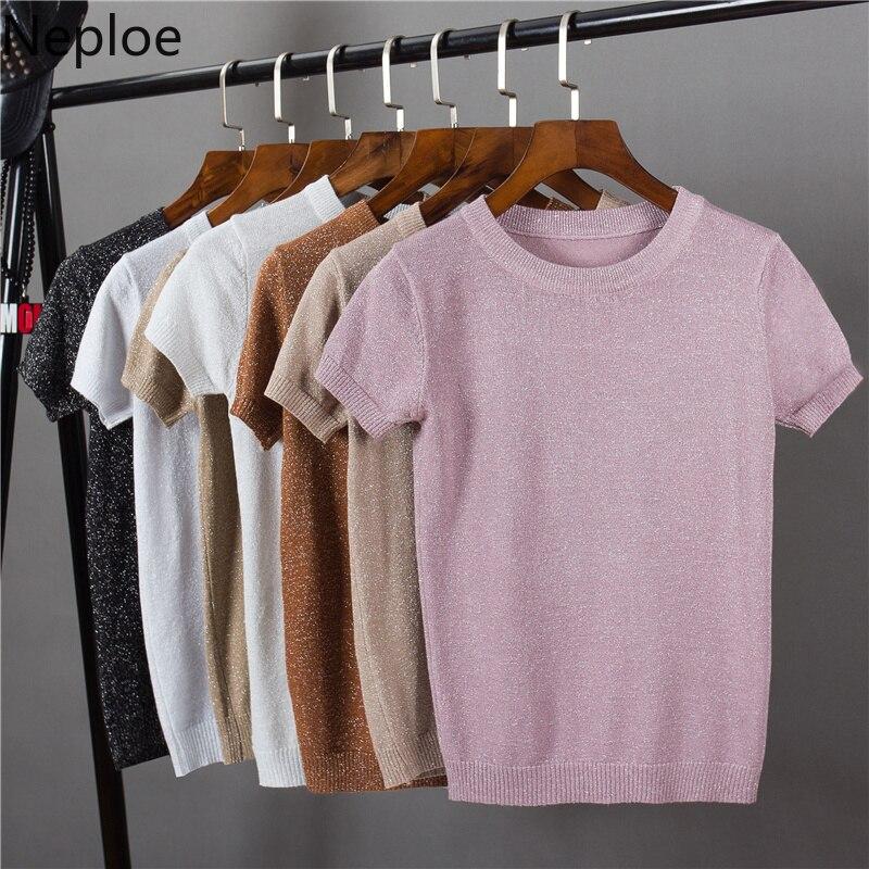Neploe Lurex Gestrickte Frauen T Shirts Frühling Sommer 2021 Feste Koreanische O Hals Kurzarm Tees Casual Stretch Weibliche Tops 80612