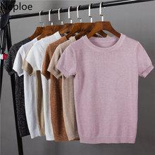Neploeラメニット女性のtシャツ春夏2021固体韓国oネック半袖tシャツカジュアルストレッチ女性トップス80612