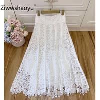 Ziwwshaoyu 2020 New Spring Summer Designer Elegant Hollow Out Embroidery Shell Beaded White Maxi Skirt Women's