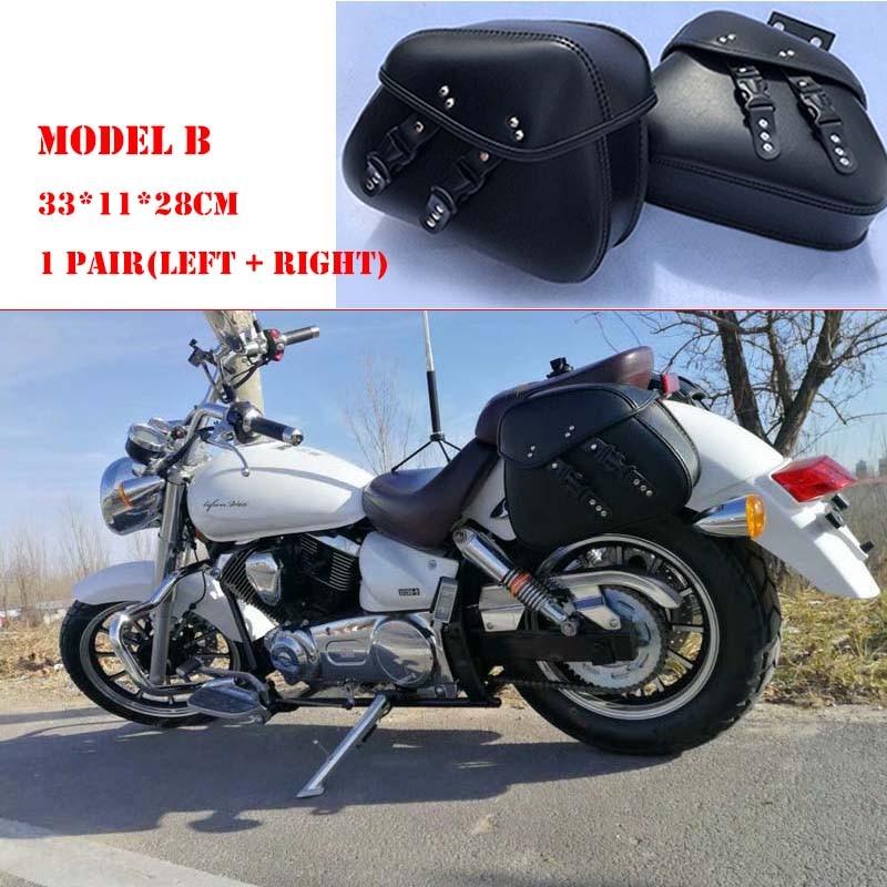 Motorcycle Bag Leather Saddle Bags 2pcs For Harley Sportster XL 883 XL 1200 Side Tool Bag Luggage alforjas para moto saddlebags (20)