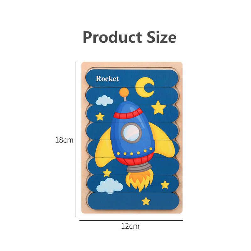 Vokmascot Montessori Mainan Kayu 3D Jigsaw Bar Teka-teki Kreatif Anak-anak Cerita Susun Puzzle Awal Pendidikan Mainan