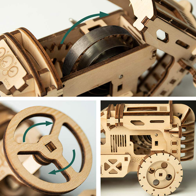 Robotime Creative Movable DIY Tractor Wooden Model Building Kits Assembly Toy Gift for Children Adult LK401 dropshipping