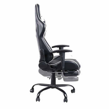 Gaming Chair Office Desk Chairs High Back Swivel Chair Racing Gaming Chair Office Chair with Footrest Tier Black & White