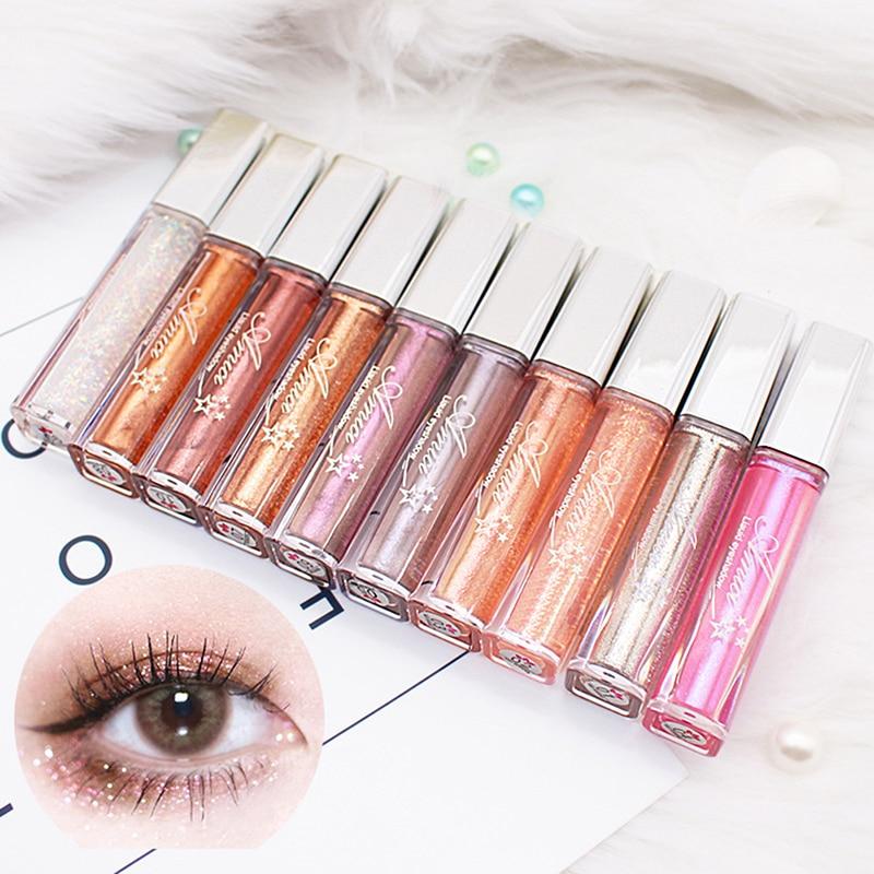 Glitter Liquid Eye Shadow Waterproof Non-dizzy Dyeing Easy Color Shimmer EyeShadow Long Lasting Makeup