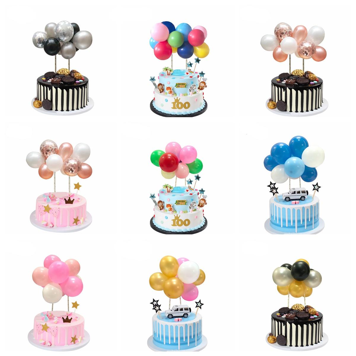 Rose Gold Balloon Cake Topper Happy Birthday Party Decor Kids Wedding Birthday Cake Decor Baby Shower One 1st Birthday Decor