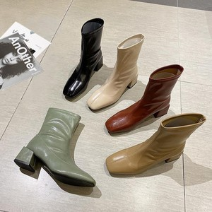 Women Hot Boots Genuine Leather Platform Fetish Stripper Short Ankle Boots Cheap Prom Chunky Low 5cm High Heels Green Shoes