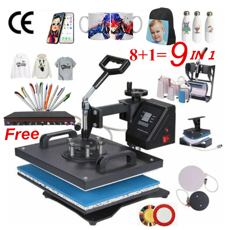 30*38CM 8 in 1 Combo Heat Press Machine Sublimation Printer 2D Thermal Transfer Pen Cloth Cap Mug Plate T-shirt Printing Machine