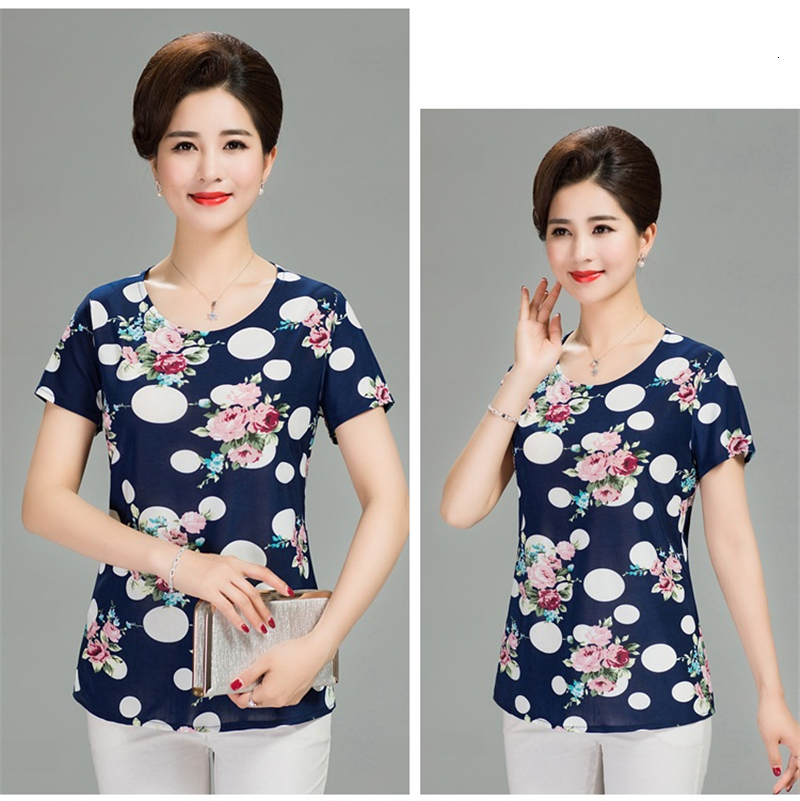 Hd32a40927ab9416f992790a14a9cc40co - Women Summer T-shirt Printed Milk Silk Short Women's T shirt Middle-aged Mother Clothes Plus size L-4XL Female Tops