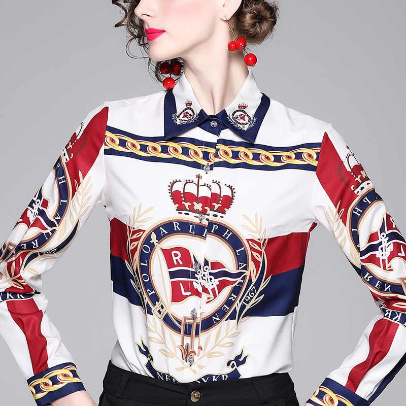 Новая мода дамы печатных Тонкий с длинным рукавом Джокер лацкане рубашка