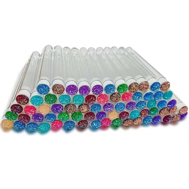 Cepillo de pestañas desechable, 50 Uds., diseño de tubo separado, reutilizable, Diamante encantador, fondo colorido, rímel, cepillo de cejas|rizador de pestañas| - AliExpress