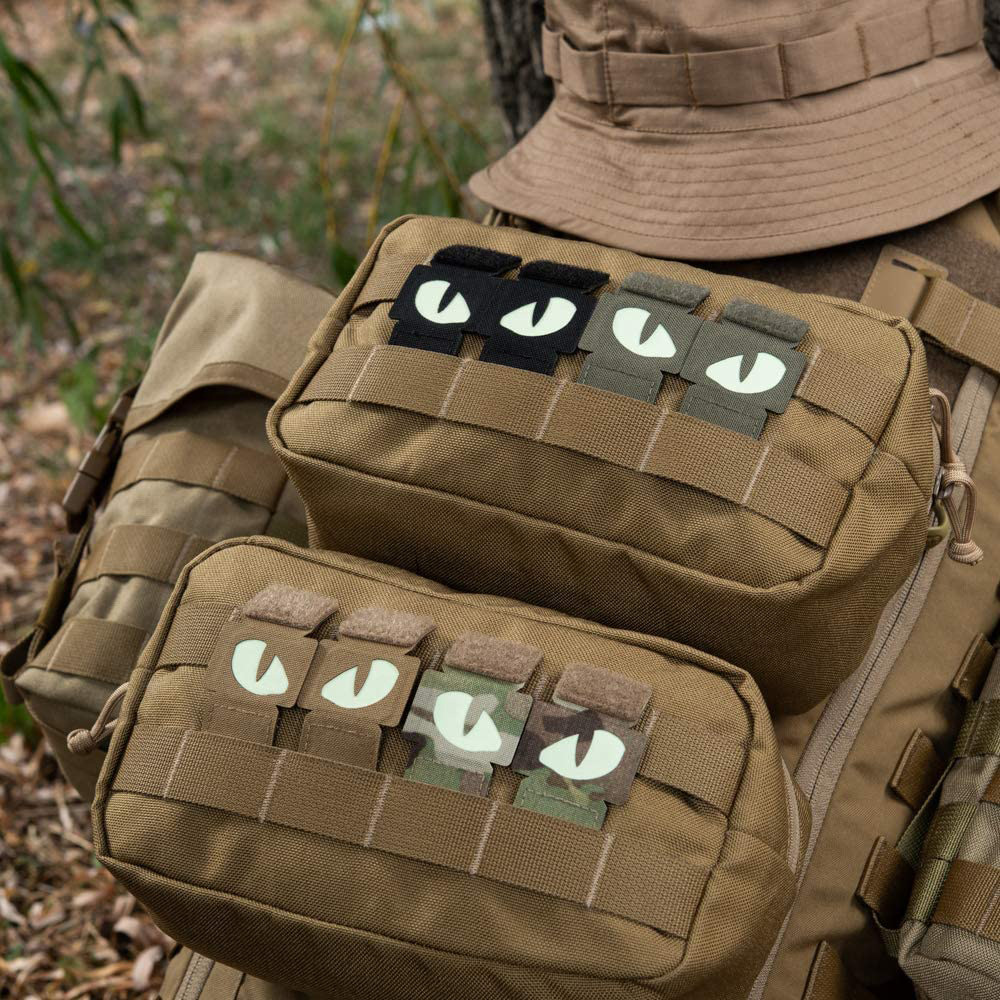 1 Pair Tactical Cat Eyes Patch Military Combat Glow In Dark Tag Applique Badge With Loop Buckle For Helmet Bag Jacket Uniform