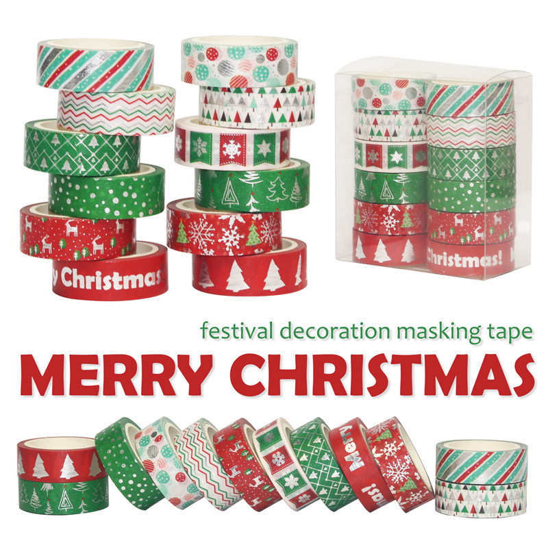 12Rolls/Lot Decorative Christmas Washi Tape Set Paper Festival DIY Scrapbooking Adhesive Masking Tape Stationery Sticky Tape