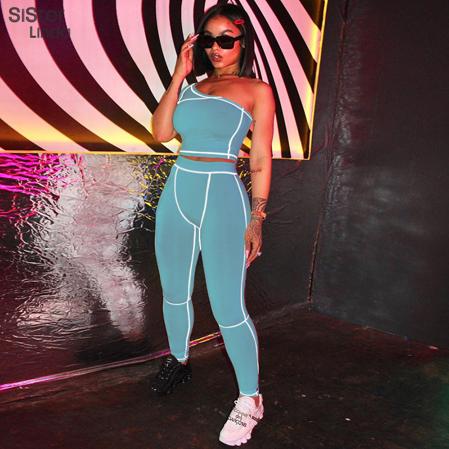 Sisterlinda 2020 Slash Collar Top Sport Leggings Two Piece Set Active Wear Fitness Tracksuit Set For Women Off Shoulder Playsuit