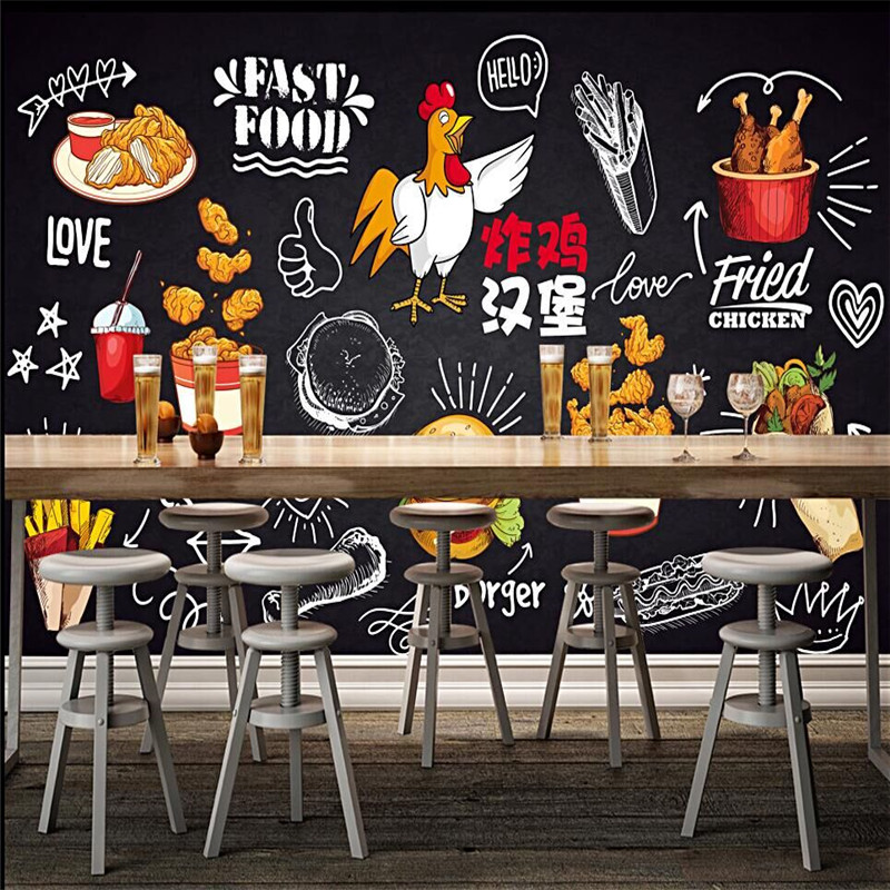 Custom Mural Wallpaper Blackboard Hand Drawn Fried Chicken Burger Dining Gourmet Fast Food Fries Background Wall Painting Wallpapers Aliexpress