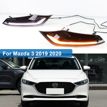 цена на 2pcs DRL for Mazda 3 axela 2019 2020 12V LED car DRL Driving daytime running light fog lamp with dimming turn Signal style Relay