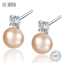 DOTEFFIL 925 Sterling Silve Natural Freshwater Pearl AAA Crystal Stud Earrings For Women Wedding Fashion Charm Jewelry