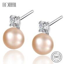 DOTEFFIL 925 Sterling Silve naturalna perła słodkowodna AAA Crystal stadniny kolczyki dla kobiet moda ślubna urok biżuterii