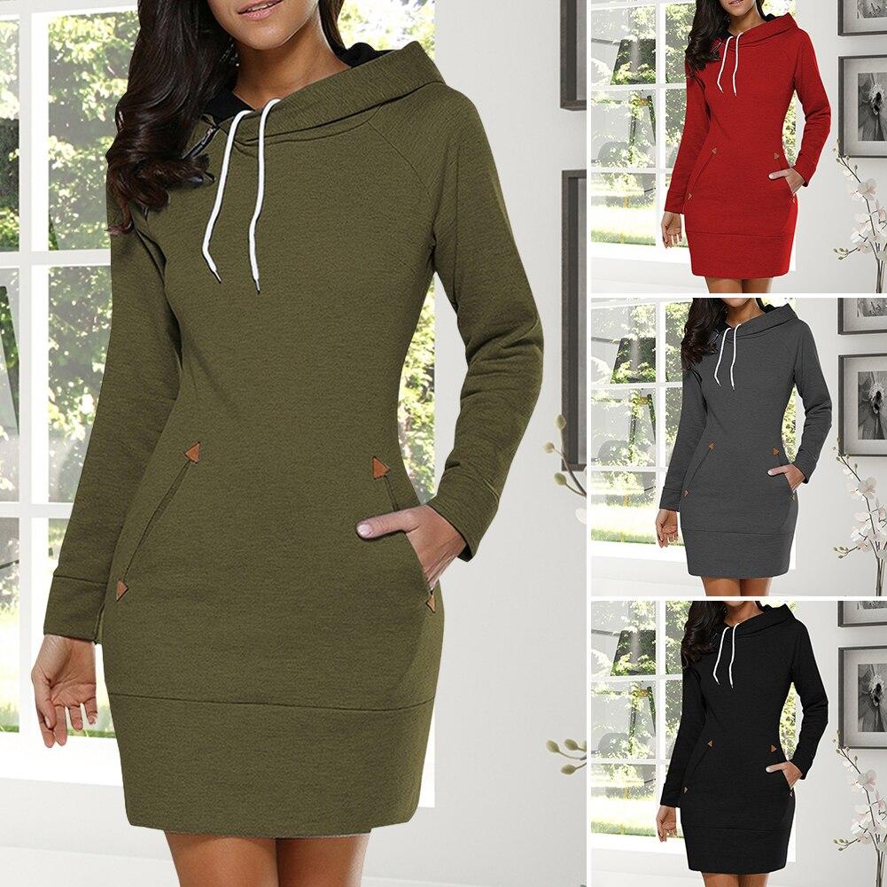 Осенне зимнее женское платье с капюшоном, с длинным рукавом, с карманом, на завязках, пуловеры, женские Теплые повседневные толстовки с капюшоном, размер M 4XL|Платья| | АлиЭкспресс
