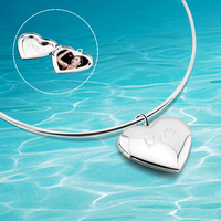 Heart shaped pendant box that can put photos, 925 sterling silver necklace for women torques collar, popular jewelry gifts