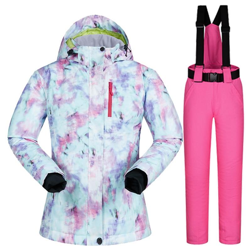 2020 Ski Set Women Outdoor Snowboard Jacket Waterproof Snow Pants Overalls Windproof Warm Skiing Suit Thicken Winter Clothing