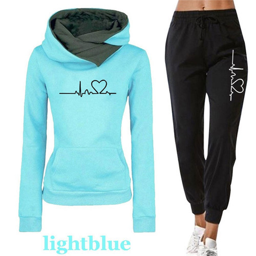 Women Tracksuit Pullovers Hoodies and Black Pants Autumn Winter Suit Female Solid Color Casual Full Length Trousers Outfits 2021 8