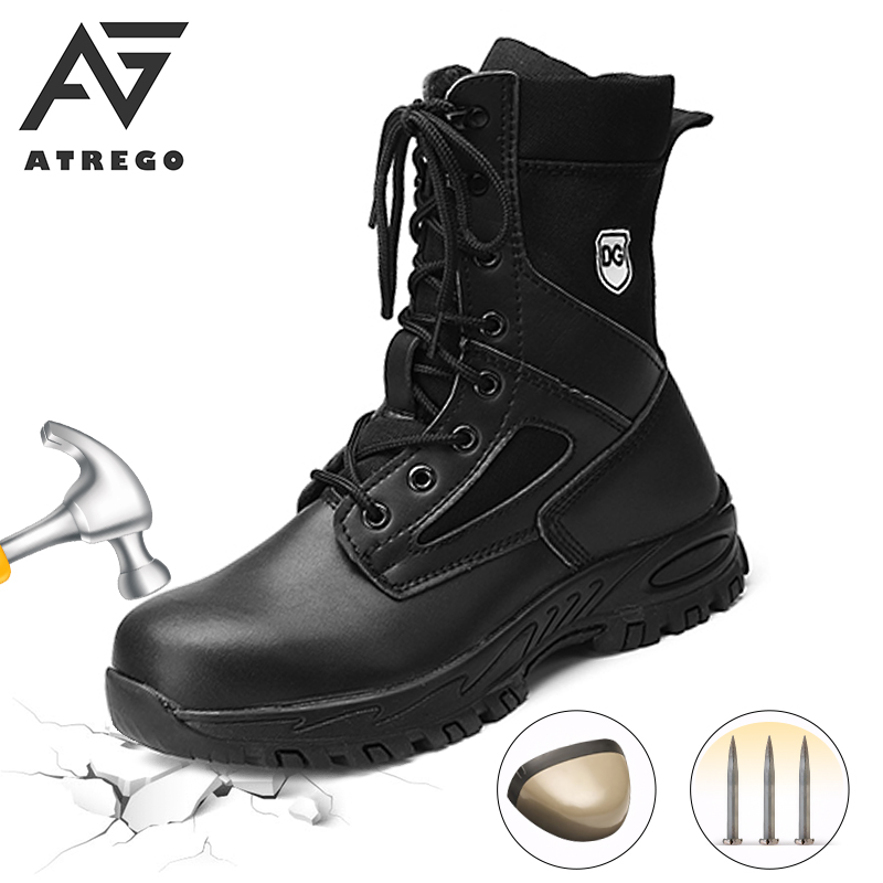 AtreGo Leather Winter Plush Warm Non-slip Men Safety Work Shoes with Steel Toe Male Ankle Boots Waterproof Military Ankle Boots image